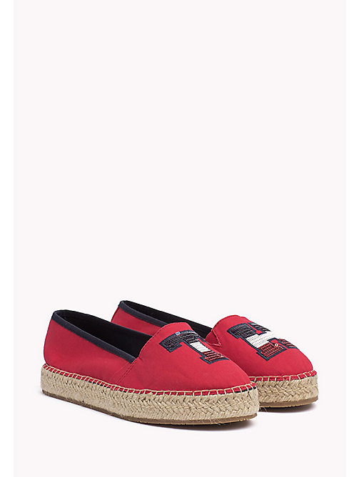 TOMMY HILFIGER Sequinned Logo Espadrilles - TANGO RED - TOMMY HILFIGER Shoes - main image