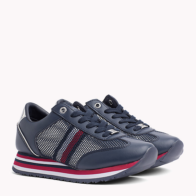 TOMMY HILFIGER Flag Mesh Trainers - WHITE - TOMMY HILFIGER SHOES - main image
