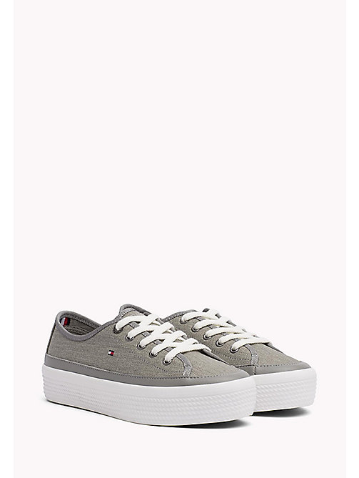 TOMMY HILFIGER Glitter Flatform Trainers - LIGHT GREY - TOMMY HILFIGER Shoes - main image