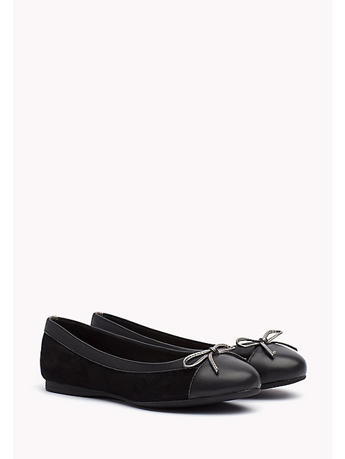 Suede Ballerina Shoes - BLACK - TOMMY HILFIGER Shoes - main image