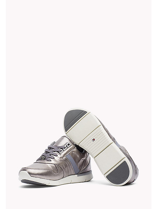7bd74b6b ... main image TOMMY HILFIGER Leather Sneaker - DARK SILVER - TOMMY  HILFIGER Sneakers - detail image 1 ...
