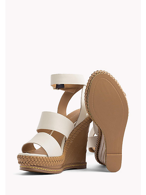 TOMMY HILFIGER Strappy Leather Wedge Sandals - WHISPER WHITE - TOMMY HILFIGER Wedges - detail image 1