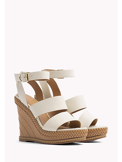 Strappy Leather Wedge Sandals - WHISPER WHITE - TOMMY HILFIGER SHOES - main image