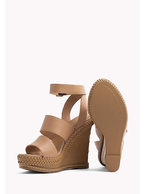 TOMMY HILFIGER Strappy Leather Wedge Sandals - SILKY NUDE - TOMMY HILFIGER Wedges - detail image 1