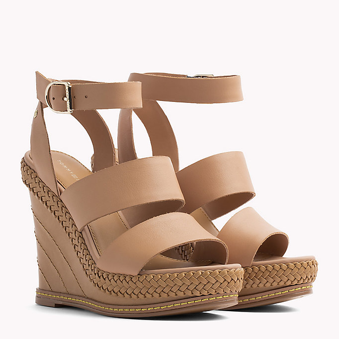 TOMMY HILFIGER Strappy Leather Wedge Sandals - WHISPER WHITE - TOMMY HILFIGER Women - main image