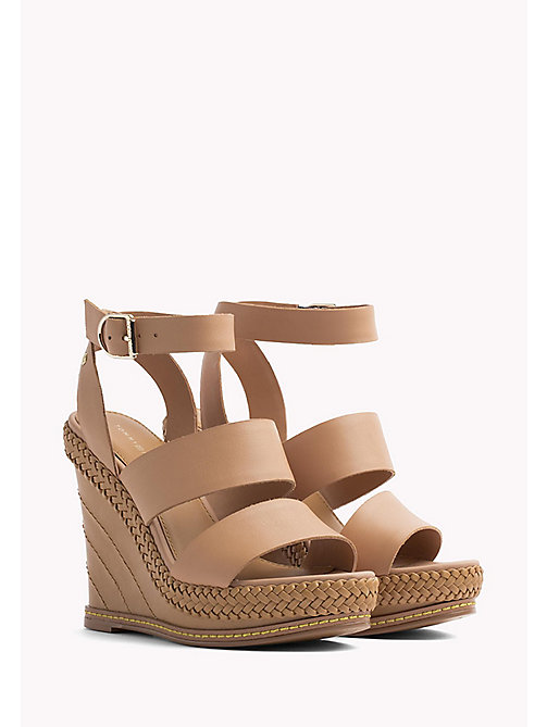 TOMMY HILFIGER Strappy Leather Wedge Sandals - SILKY NUDE - TOMMY HILFIGER Wedges - main image
