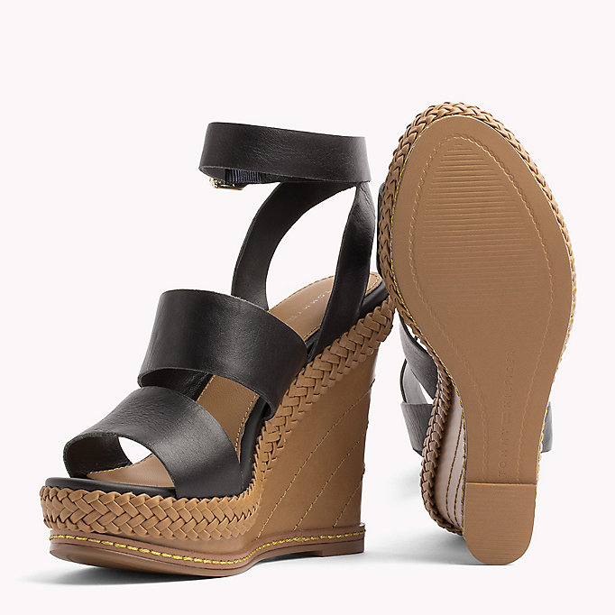 TOMMY HILFIGER Strappy Leather Wedge Sandals - SILKY NUDE - TOMMY HILFIGER Women - detail image 1