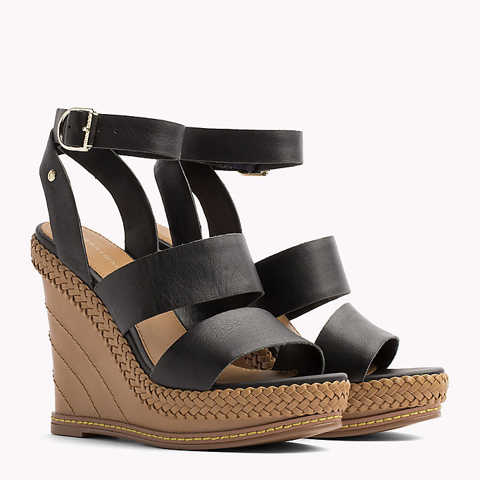 TOMMY HILFIGER Strappy Leather Wedge Sandals - SILKY NUDE - TOMMY HILFIGER Women - main image