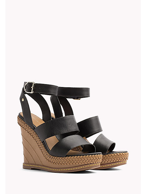 TOMMY HILFIGER Strappy Leather Wedge Sandals - BLACK - TOMMY HILFIGER Wedges - main image