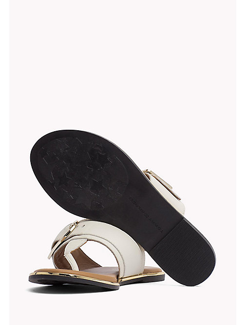 TOMMY HILFIGER Oversized Buckle Leather Sandals - WHISPER WHITE - TOMMY HILFIGER Flat Sandals - detail image 1