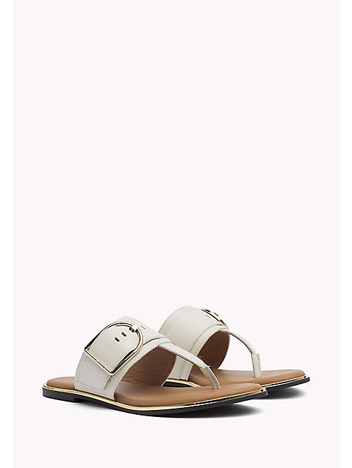 TOMMY HILFIGER Oversized Buckle Leather Sandals - WHISPER WHITE - TOMMY HILFIGER Flat Sandals - main image