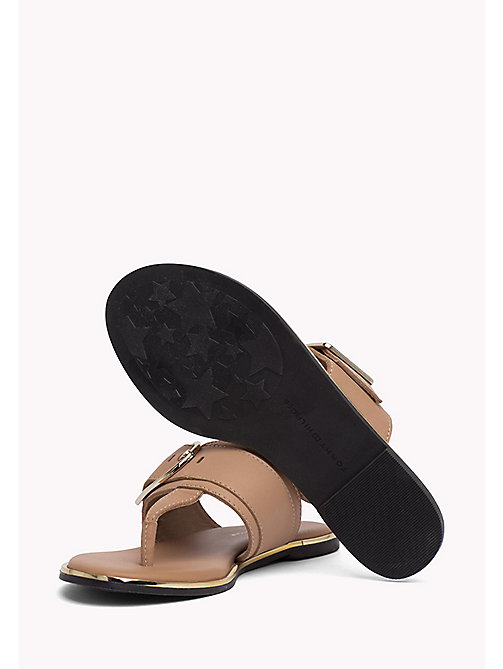 TOMMY HILFIGER Oversized Buckle Leather Sandals - SILKY NUDE - TOMMY HILFIGER Flat Sandals - detail image 1