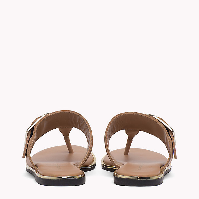 TOMMY HILFIGER Oversized Buckle Leather Sandals - WHISPER WHITE - TOMMY HILFIGER SHOES - detail image 2