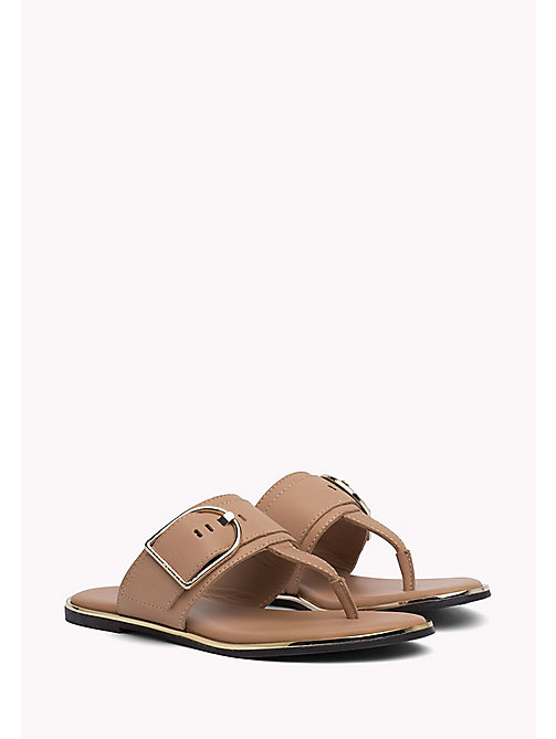 TOMMY HILFIGER Oversized Buckle Leather Sandals - SILKY NUDE - TOMMY HILFIGER Flat Sandals - main image