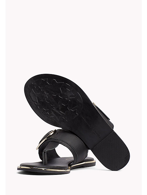 TOMMY HILFIGER Oversized Buckle Leather Sandals - BLACK - TOMMY HILFIGER Flat Sandals - detail image 1