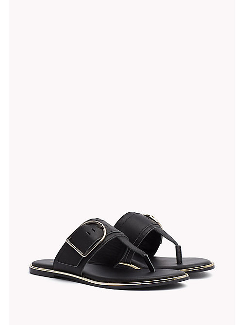 TOMMY HILFIGER Oversized Buckle Leather Sandals - BLACK - TOMMY HILFIGER Flat Sandals - main image