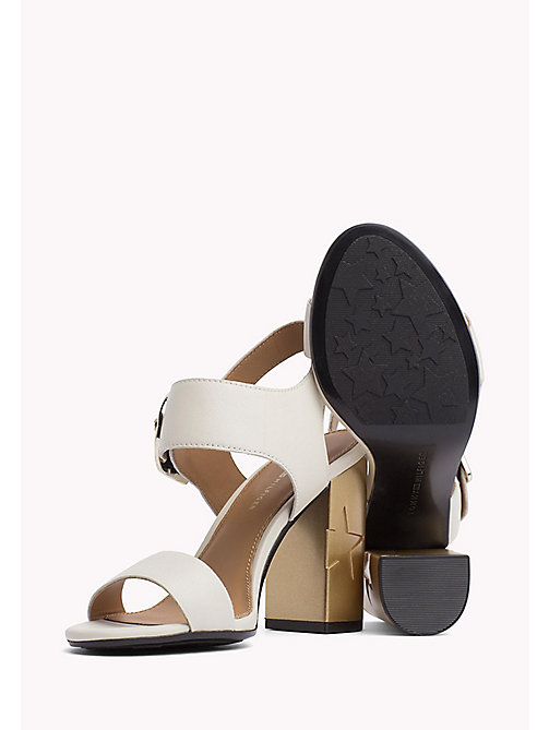 TOMMY HILFIGER Oversized Buckle Leather Sandals - WHISPER WHITE - TOMMY HILFIGER Heeled Sandals - detail image 1