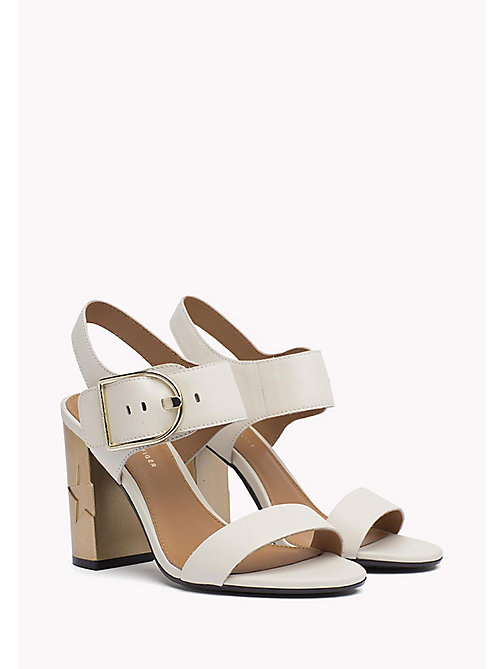TOMMY HILFIGER Oversized Buckle Leather Sandals - WHISPER WHITE - TOMMY HILFIGER Heeled Sandals - main image