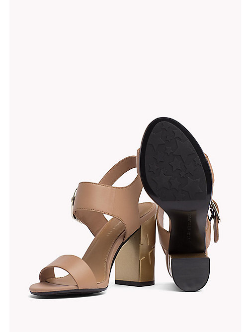 TOMMY HILFIGER Oversized Buckle Leather Sandals - SILKY NUDE - TOMMY HILFIGER Heeled Sandals - detail image 1