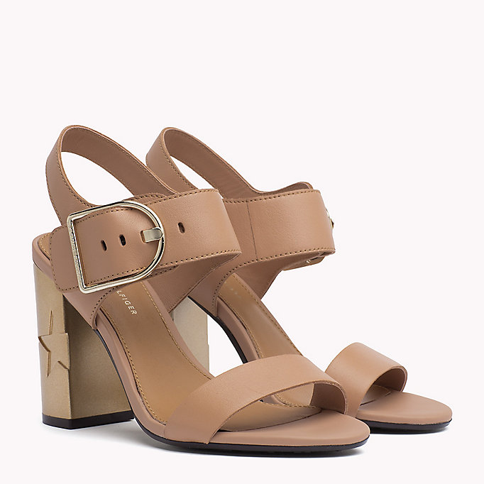TOMMY HILFIGER Oversized Buckle Leather Sandals - WHISPER WHITE - TOMMY HILFIGER Women - main image