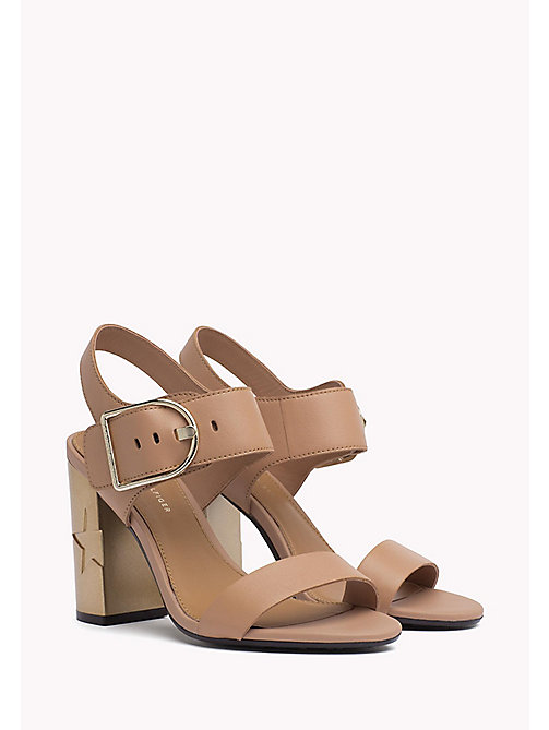TOMMY HILFIGER Oversized Buckle Leather Sandals - SILKY NUDE - TOMMY HILFIGER Heeled Sandals - main image
