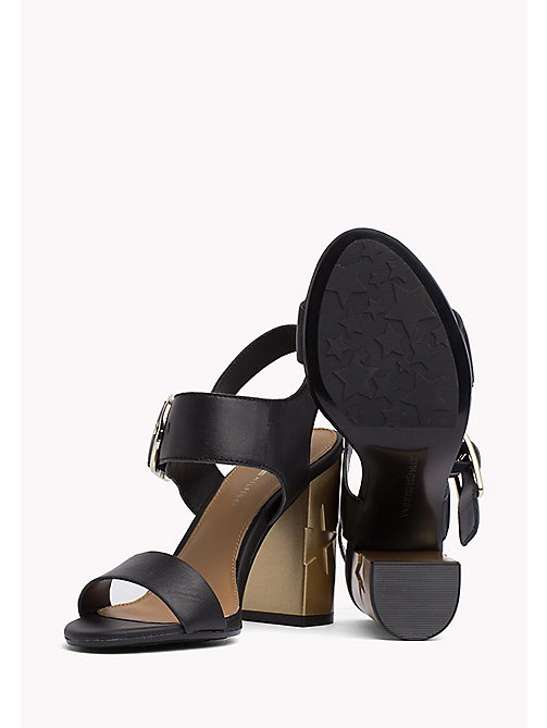 TOMMY HILFIGER Oversized Buckle Leather Sandals - BLACK - TOMMY HILFIGER Heeled Sandals - detail image 1