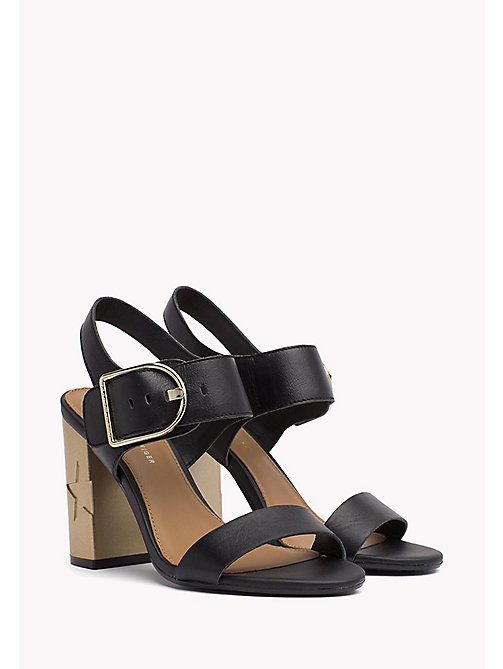 TOMMY HILFIGER Oversized Buckle Leather Sandals - BLACK - TOMMY HILFIGER  Heeled Sandals - main image