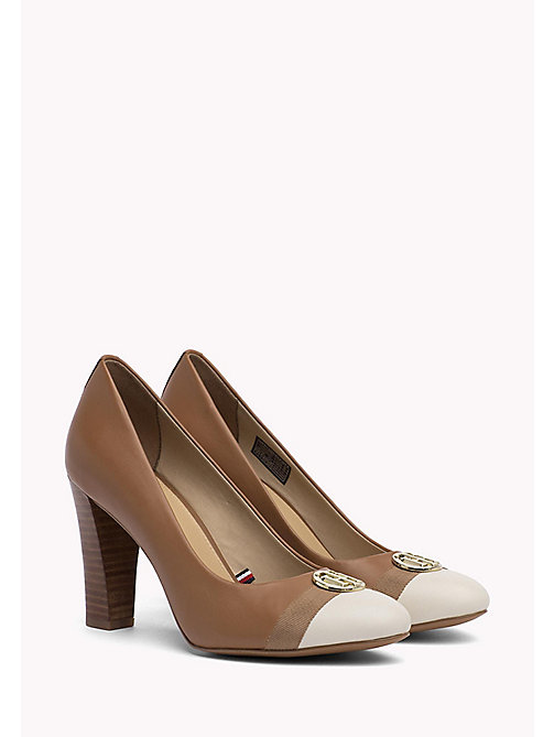 TOMMY HILFIGER Colour-blocked leren pump - SUMMER COGNAC - TOMMY HILFIGER Pumps - main image