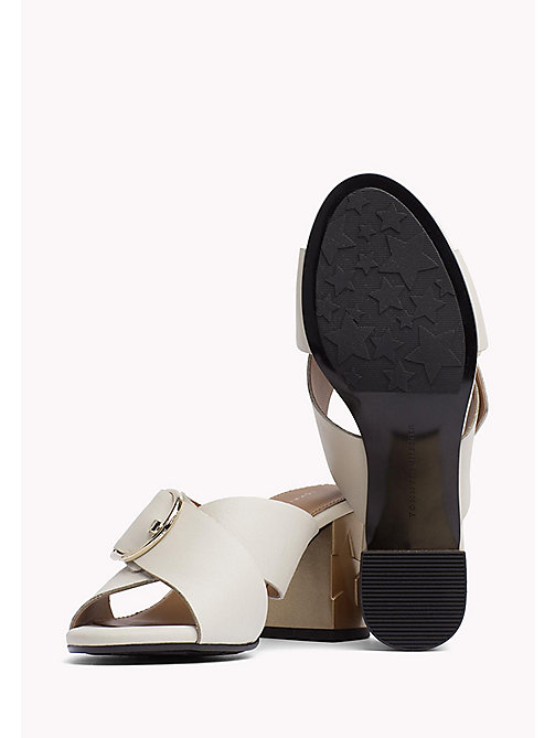 TOMMY HILFIGER Leather Oversized Buckle Mules - WHISPER WHITE - TOMMY HILFIGER Heeled Sandals - detail image 1