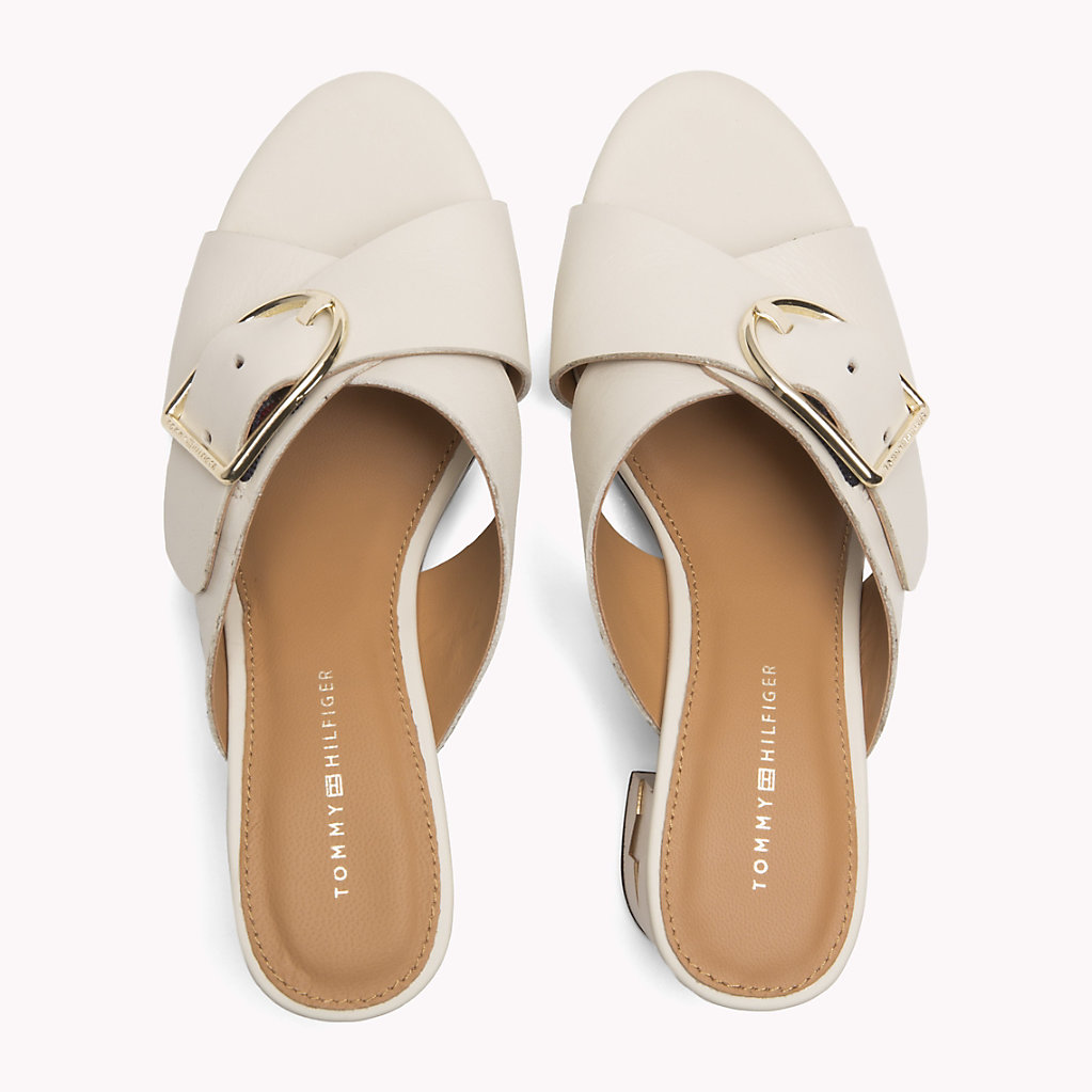 Leather Oversized Buckle Mules - Sales Up to -50% Tommy Hilfiger 3xoTrXZg