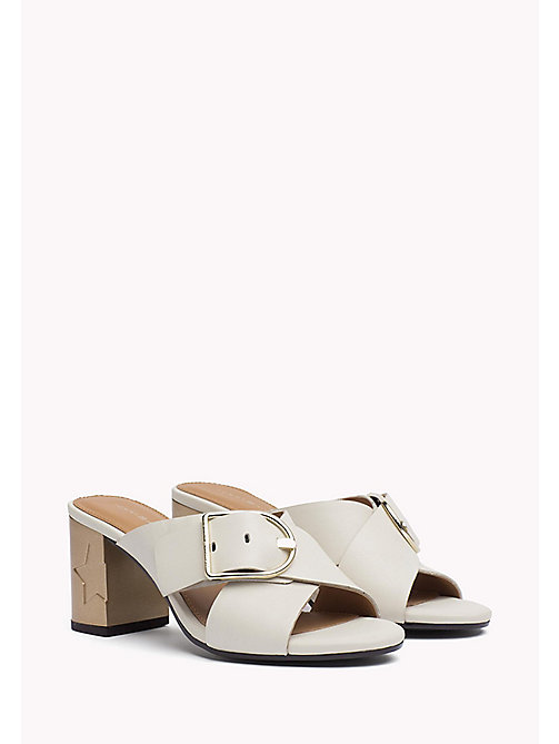 TOMMY HILFIGER Leather Oversized Buckle Mules - WHISPER WHITE - TOMMY HILFIGER SHOES - main image