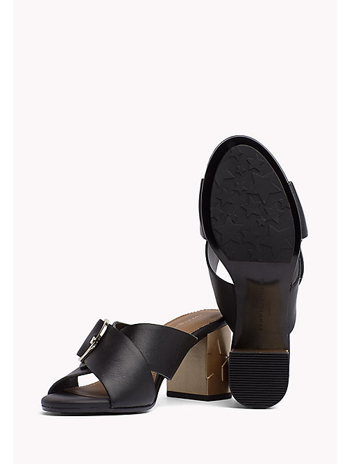 TOMMY HILFIGER Leather Oversized Buckle Mules - BLACK - TOMMY HILFIGER Heeled Sandals - detail image 1