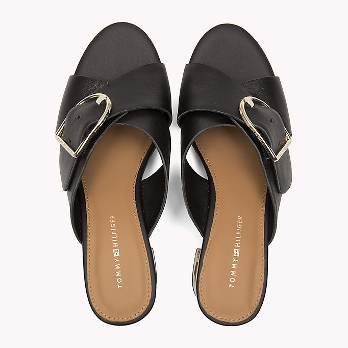 TOMMY HILFIGER Leather Oversized Buckle Mules - WHISPER WHITE - TOMMY HILFIGER Women - detail image 3
