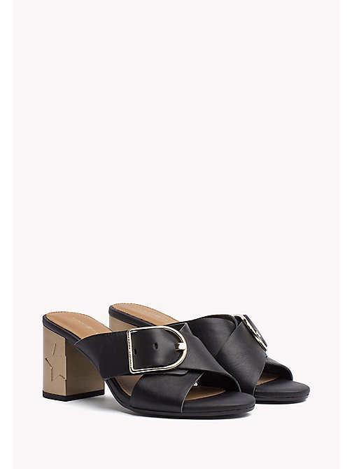 TOMMY HILFIGER Leather Oversized Buckle Mules - BLACK - TOMMY HILFIGER Heeled Sandals - main image