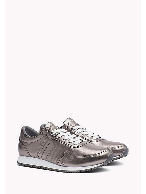 TOMMY HILFIGER Metallic Leather Sneaker - DARK SILVER - TOMMY HILFIGER Trainers - main image