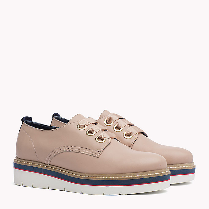 TOMMY HILFIGER Leather Lace-Up Shoe - BLACK - TOMMY HILFIGER Women - main image