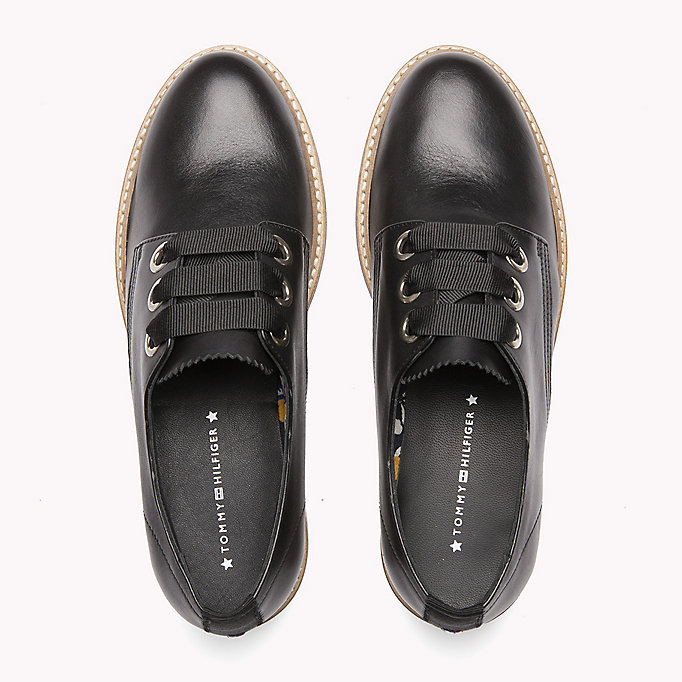 TOMMY HILFIGER Leather Lace-Up Shoe - TOMMY NAVY - TOMMY HILFIGER Women - detail image 3