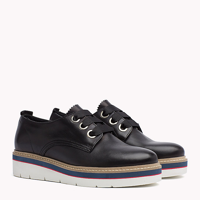 TOMMY HILFIGER Leather Lace-Up Shoe - TOMMY NAVY - TOMMY HILFIGER Women - main image