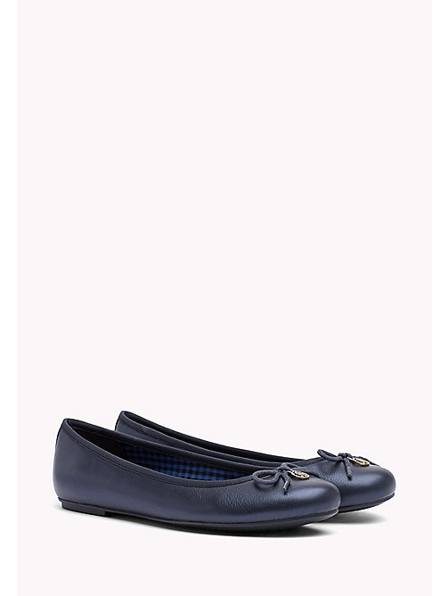 TOMMY HILFIGER Metallic Leather Ballerina Shoes - TOMMY NAVY - TOMMY HILFIGER Ballerina Shoes - main image