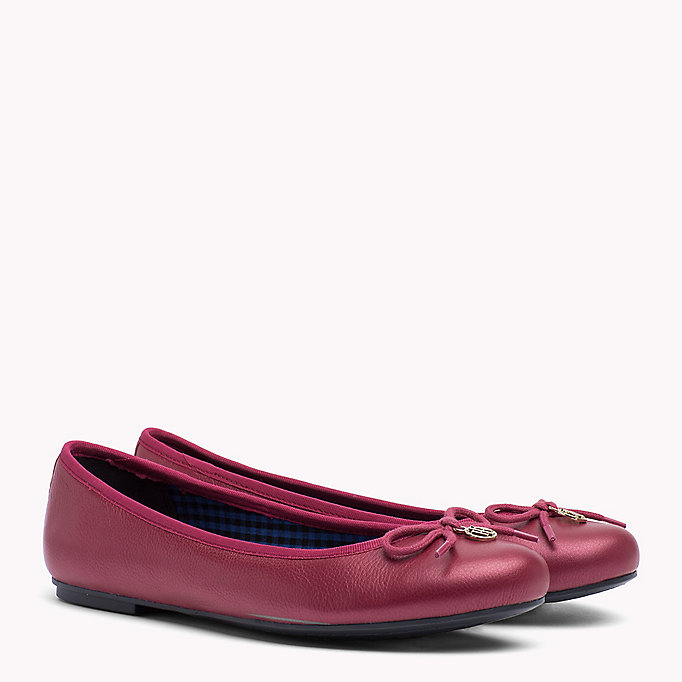 TOMMY HILFIGER Metallic Leather Ballerina Shoes - TOMMY NAVY - TOMMY HILFIGER SHOES - main image