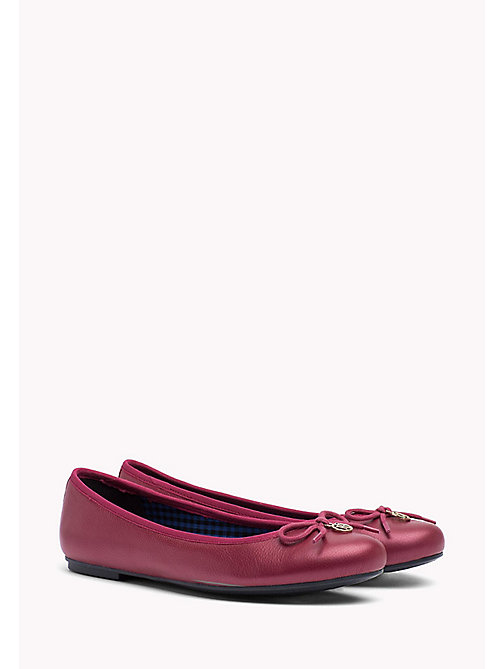 TOMMY HILFIGER Metallic Leather Ballerina Shoes - PURPLE WINE - TOMMY HILFIGER Ballerina Shoes - main image