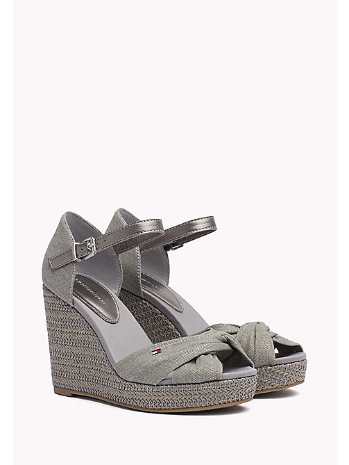 TOMMY HILFIGER Iconic Metallic Sandals - LIGHT GREY - TOMMY HILFIGER Wedges - main image