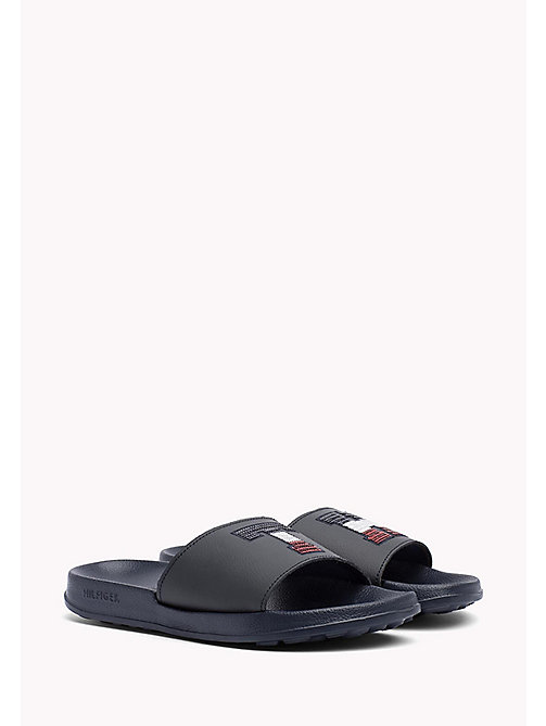 TOMMY HILFIGER Sparkly Logo Sliders - MIDNIGHT - TOMMY HILFIGER Athleisure - main image