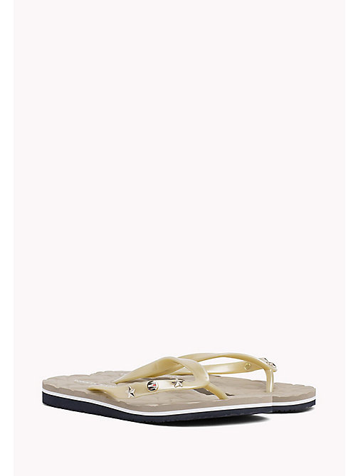 TOMMY HILFIGER Metallic Stud Flip-Flops - LIGHT GOLD - TOMMY HILFIGER VACATION FOR HER - main image