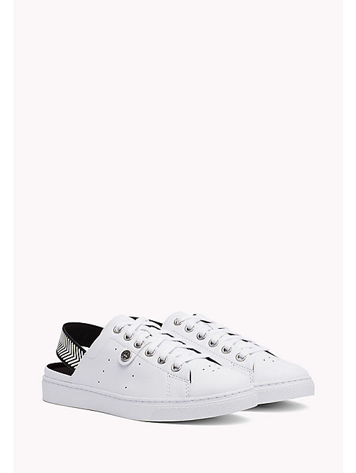 TOMMY HILFIGER OPEN BACK LEATHER SNEAKER - WHITE - TOMMY HILFIGER Athleisure - immagine principale