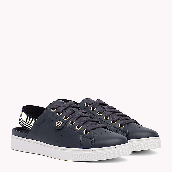 TOMMY HILFIGER OPEN BACK LEATHER SNEAKER - WHITE - TOMMY HILFIGER SCHUHE - main image