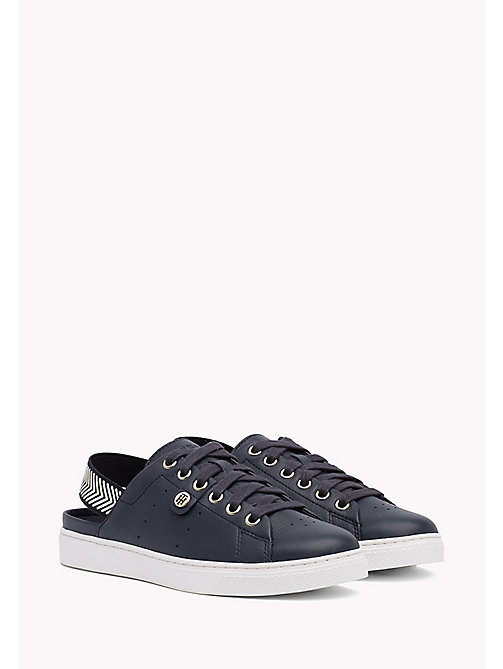TOMMY HILFIGER OPEN BACK LEATHER SNEAKER - MIDNIGHT - TOMMY HILFIGER Trainers - main image