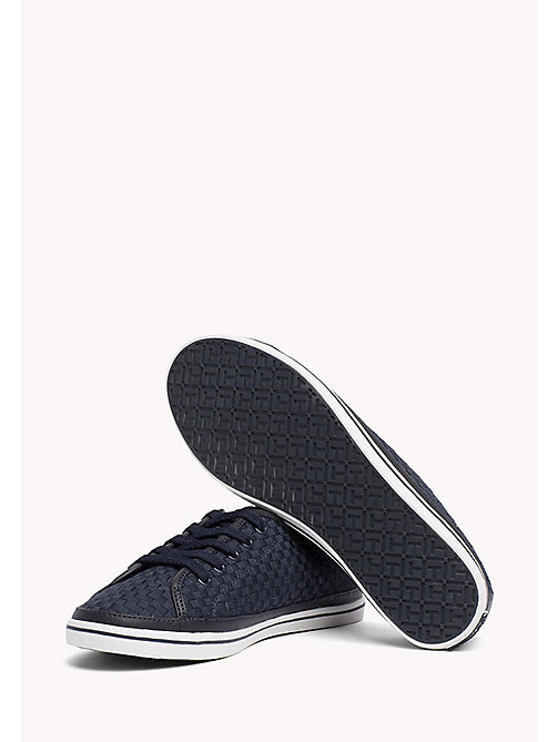 TOMMY HILFIGER Woven Cotton Trainers - MIDNIGHT - TOMMY HILFIGER Trainers - detail image 1