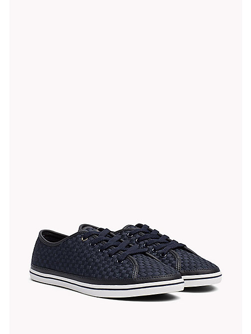 TOMMY HILFIGER Woven Cotton Trainers - MIDNIGHT - TOMMY HILFIGER Shoes - main image
