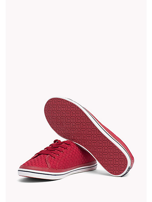TOMMY HILFIGER Woven Cotton Trainers - TANGO RED - TOMMY HILFIGER VACATION FOR HER - detail image 1